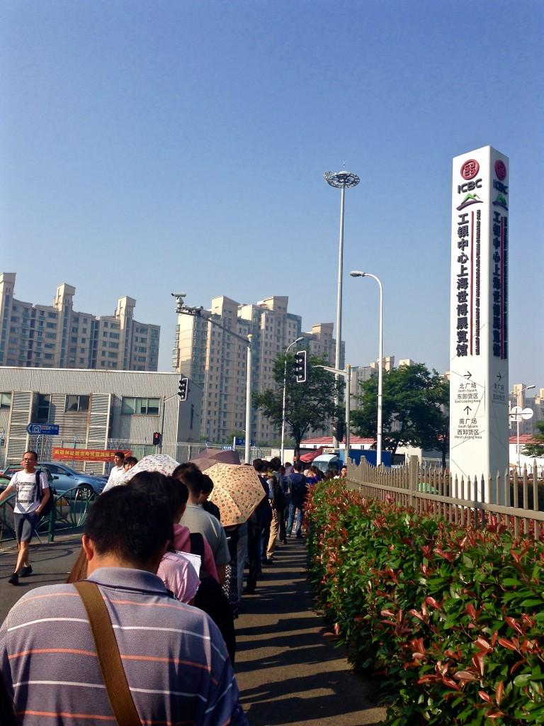 Long queue to get into the exam center.